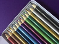 METALLIC PENCILS - 12 COLOURS IN A TIN - GREAT PRODUCT AND FREE P&P!