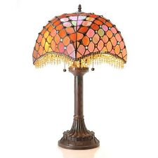 "Table Lamp Amber Beaded Accents Red Tiffany Style Stained Glass Shade 26"" High"