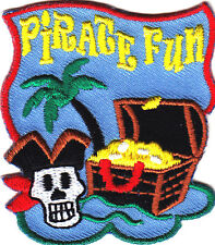 """""""PIRATE FUN"""" w/SKULL & TREASURE CHEST/Iron On Embroidered Patch/Children,Games"""