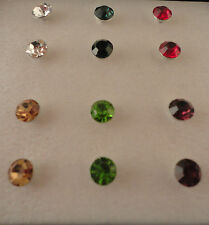 Stud Earrings 6 Pairs Silver Plated Round Red Green Blue Push Back Clip NIB