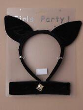 Black Cat Ears & Collar With Bell Set Fancy Dress Headband Halloween Hen Night