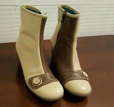 Fly Wedge Ankle Boots Sz 5 38 Leather Off White Stitching Excellent Condition