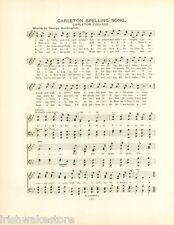 "CARLETON COLLEGE Antique School Song Sheet c1906 ""Spelling Song"" - Original"