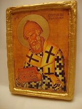 Saint Spyridon Spiro Rare Greek Orthodox Religious Icon Art on Real Wood Plaque