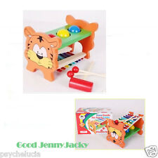 Tiger Music Sound Wooden Toys Knock Balls Table Hammer for Baby Kids Best Gifts