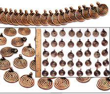 12mm Solid Copper Bali Style SPIRAL Coil w/Dots Pendant Beads Findings 40pc