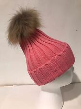 NEW Women Girl Winter Pom Pom Beanie with Real Raccoon Fur Wool Knitted Cuff Hat