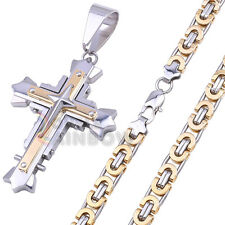 P03 Men Stainless Steel Byzantine Box Chain Necklace Silver Gold Cross Pendant