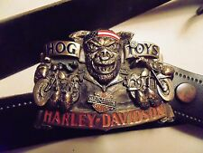 HARLEY DAVIDSON  BUCKLE LEATHER BELT 1991 FIT UP TO  36'' better than socks!