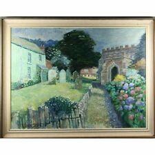 Original John Stops Contemporary The Old Church Graveyard Landscape Oil Painting