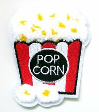 Pop Corn Sew On Patch- Movie Film Embroidered Crafts Sew Patches Badge