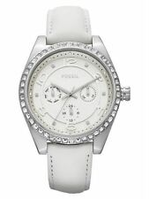BQ1090 Fossil Women Carissa Multifunction White Leather Crystals Watch 40mm $115