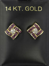 UNIQUE 2.3 CTW RUBY & .06 CTW DIAMOND EARRINGS in 14K YELLOW GOLD POST SETTINGS