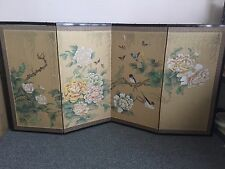 Stunning Japanese Byobu Gold Silk 4-Panel Folding Screen Beautiful Flower Tree