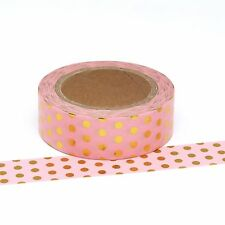 Washi Tape Pink Gold Polka Dot Spots 15mm x 10m