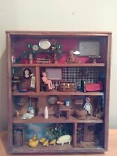 Vintage Wooden Shadow Box Country Doll House Wall Hanging Display