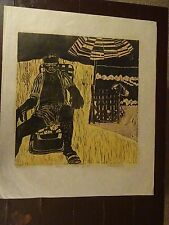"Carole Sue Lebbin Woodblock Print ""SCENES FROM FAMILY LIFE II"" Signed #10/75"