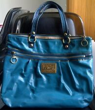 AUTHENTIC COACH POPPY PATENT LEATHER GLAM LARGE TOTE PURSE 15791 TEAL $378 -RARE