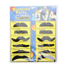 12x Fake Funny Moustaches Mustache Beard Goatee Party Set Self Adhesive