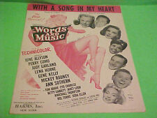 1948 WITH A SONG IN MY HEART SHEET MUSIC LORENZ HART & RICHARD RODGERS MUSICAL