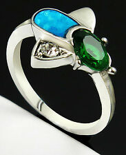 NWOT Blue Fire Opal & Crystal Emerald Silver Plate Bee Ring w/Clear Stone Wing-8