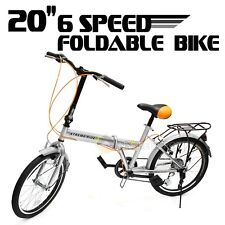 "20"" Folding Bicycle 6 Speed Sport Shimano Fold Frame Silver Cycling Foldable"