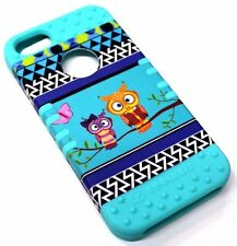 for iPhone SE 5s Cute Owl Butterfly Tribal Blue Hybrid Protective Koolkase Case