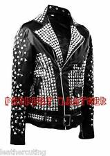 New Mens Silver Studded And Steam Punk Black Biker Leather Jacket XS TO 6XL