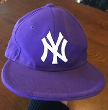 Fitted Deep Purple NY New York Yankees Baseball Hat Cap Size 7 3/8 Flat Brim!