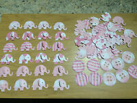 60 Mixed Pink 3D Elephants2 4 Cardmaking/Baby Shower/Baby cards 10 Free Buttons