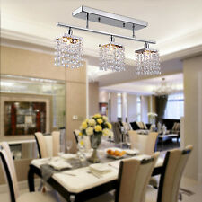 Crystal Chandelier Ceiling Lamp Drum Pendant Lighting for Dining Room 3 Lights