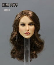"""1/6 Scale European Female Head Brown Curls Carving F 12"""" Figures KIMI TOYS KT008"""