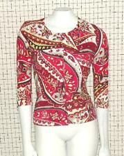 ANN TAYLOR~MULTI-COLOR~3/4 SLEEVE **FLORAL PRINT** WORK~KNIT CARDIGAN SWEATER~MP