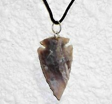 "One Hand Knapped  Agate Arrowhead on a  22"" 1mm Leather Necklace Cord"