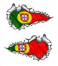LONG Handed Pair Ripped Open Torn Metal Portugal Portuguese Flag car sticker