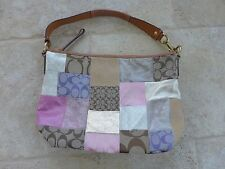 COACH Patchwork Signature Suede Hand Bag Purse Tote - Pastel Pink Gold Tan