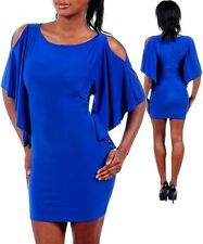 H09 - S/Small- Royal Blue,Stylish Sleeve Stretch Mini Dress