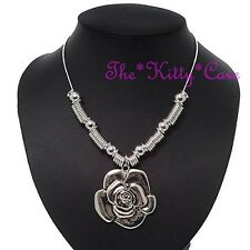 Chunky Silver Rhodium Pltd 3D Rose Flower Shabby Chic Statement Pendant Necklace