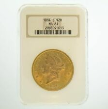 1884-S $20 NGC MS61 Gold Double Eagle Liberty Coin
