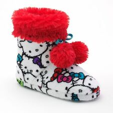 New HELLO KITTY Girls High Top Boot Slippers Colorful Print Red Fur Sz 11 - 12