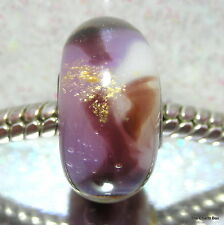'CHOC BLUEBERRY' White/Purple/Brown/Gold Glass European Charm Bead - Single Core