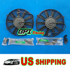 "2X12V 12"" Slim Radiator Cooling Thermo Electric Fan&Mounting kit Most JAPAN CARS"