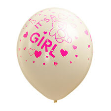 """12"""" Latex Balloons It's a Girl White - Baby Shower Balloons - Pack of 10"""