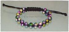 ♥Dream-Pearls Armband Rainbow Regenbogen geflochten Makrame schwarz bunt ♥ AB016