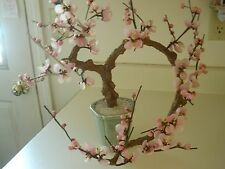 LARGE VINTAGE ASIAN WIRED GLASS SHELLS FORMING CHERRY BLOSSOMS ON MING TREE