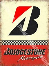 Vintage Garage Bridgestone Tyres 153 Racing Motor Car Old, Medium Metal/Tin Sign