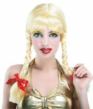 Plaited Pigtail Blonde School Girl Heidi Helga Fancy Dress Wig NEW P5772