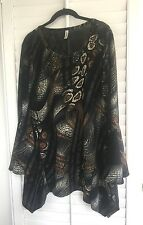 Womens Brown Long Flared/Bell Sleeves Asym Tunic Top Yummy Plus Size 2X
