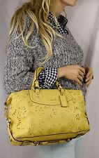Coach Ashley Leather Lace Convertible Satchel Shoulder Hand Bag  Yellow