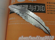 Free shipping 5pcs New retro feather metal bookmarks silver DIY 114mm DF296